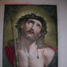 Arte: ECCE HOMO. JESUCRISTO. PRECIOSA LITOGRAFIA GRANDE. S. XIX.. Lote 31089759