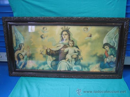 Arte: Cuadro estampa religiosa antiguo de la Virgen. Medidas 47 x 87 cm - Foto 6 - 122534787