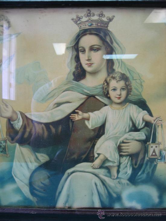 Arte: Cuadro estampa religiosa antiguo de la Virgen. Medidas 47 x 87 cm - Foto 2 - 122534787