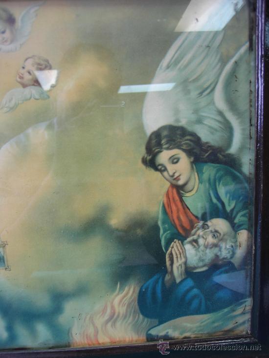 Arte: Cuadro estampa religiosa antiguo de la Virgen. Medidas 47 x 87 cm - Foto 3 - 122534787