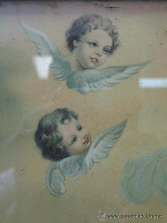 Arte: Cuadro estampa religiosa antiguo de la Virgen. Medidas 47 x 87 cm - Foto 7 - 122534787