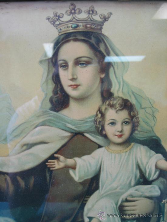 Arte: Cuadro estampa religiosa antiguo de la Virgen. Medidas 47 x 87 cm - Foto 4 - 122534787