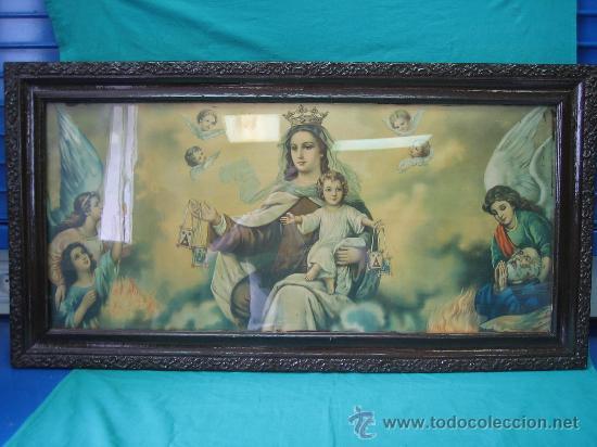 CUADRO ESTAMPA RELIGIOSA ANTIGUO DE LA VIRGEN. MEDIDAS 47 X 87 CM (Arte - Arte Religioso - Pintura Religiosa - Otros)
