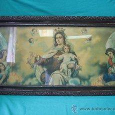 Arte: CUADRO ESTAMPA RELIGIOSA ANTIGUO DE LA VIRGEN. MEDIDAS 47 X 87 CM. Lote 122534787
