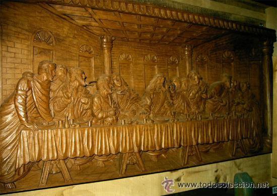 ULTIMA CENA, TALLADA EN MADERA, ALTO RELIEVE. MEDIDA 100X43X7 CM (Arte - Arte Religioso - Escultura)