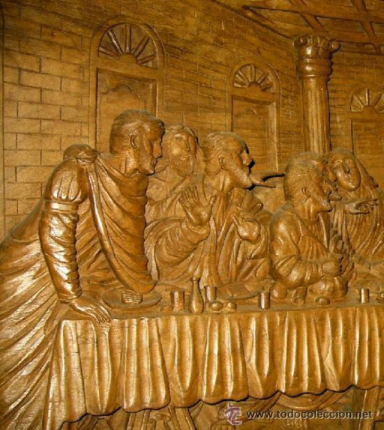 Arte: Ultima cena, tallada en madera, alto relieve. Medida 100x43x7 cm - Foto 2 - 31219936