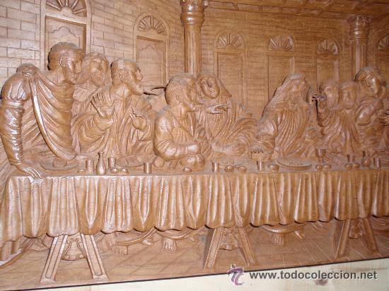 Arte: Ultima cena, tallada en madera, alto relieve. Medida 100x43x7 cm - Foto 3 - 31219936