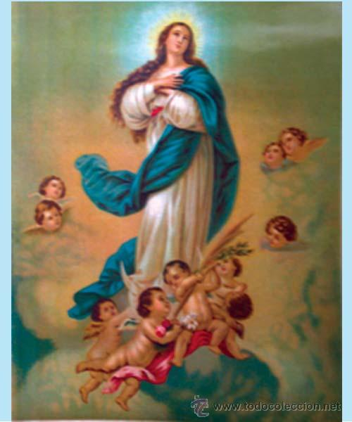 FINALES S.XIX.- LITOGRAFIA ANTIGUA ALEMANA EN PAPEL-TELA DE LA PURISIMA CONCEPCION. MED.: 33 X 43 CM (Arte - Arte Religioso - Litografías)
