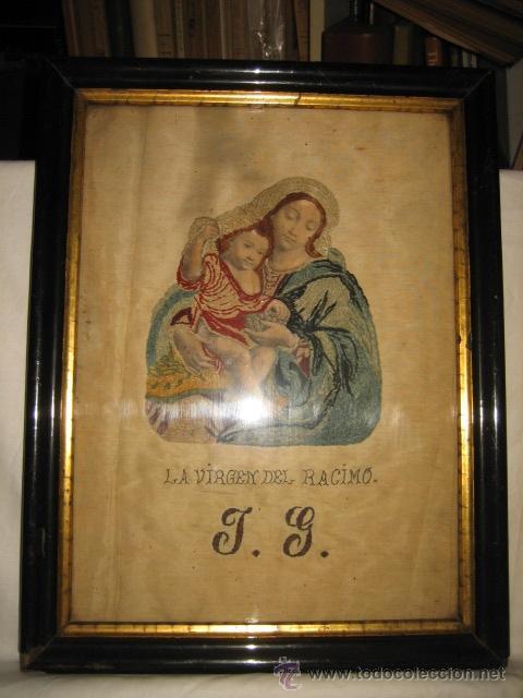ANTIGUA VIRGEN DEL RACIMO BORDADA (Arte - Arte Religioso - Pintura Religiosa - Otros)