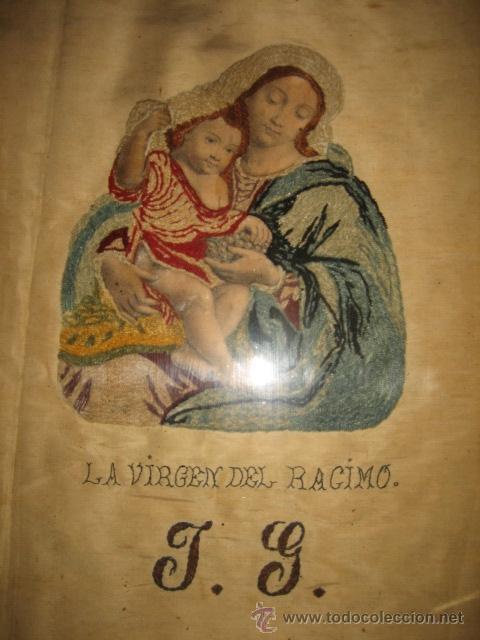 Arte: ANTIGUA VIRGEN DEL RACIMO BORDADA - Foto 2 - 31554987
