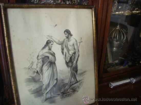 MAGNIFICO GRABADO DEL BAUTISMO DE JESUS, ORIGINAL EPOCA, , EN MARCO DORADO 40 X 31 CM (Arte - Arte Religioso - Grabados)