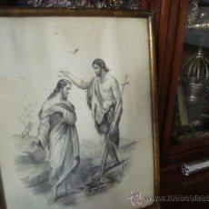 Arte: MAGNIFICO GRABADO DEL BAUTISMO DE JESUS, ORIGINAL EPOCA, , EN MARCO DORADO 40 X 31 CM. Lote 31574805
