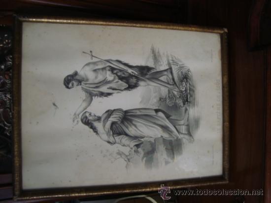 Arte: magnifico grabado del bautismo de jesus, original epoca, , en marco dorado 40 x 31 cm - Foto 3 - 31574805
