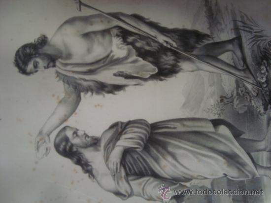 Arte: magnifico grabado del bautismo de jesus, original epoca, , en marco dorado 40 x 31 cm - Foto 4 - 31574805