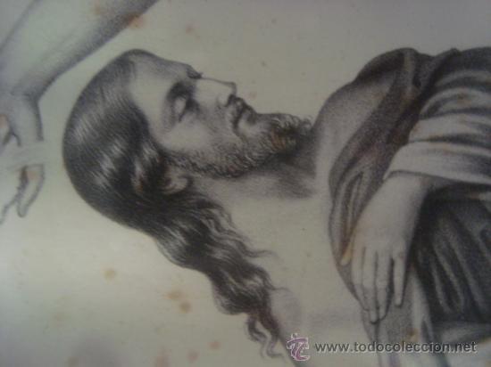 Arte: magnifico grabado del bautismo de jesus, original epoca, , en marco dorado 40 x 31 cm - Foto 2 - 31574805