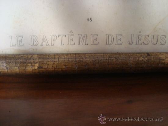 Arte: magnifico grabado del bautismo de jesus, original epoca, , en marco dorado 40 x 31 cm - Foto 11 - 31574805