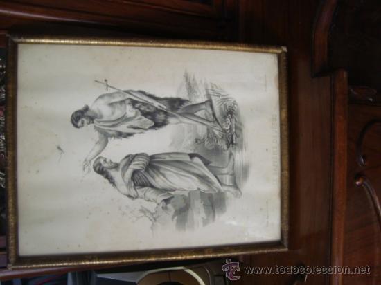 Arte: magnifico grabado del bautismo de jesus, original epoca, , en marco dorado 40 x 31 cm - Foto 6 - 31574805