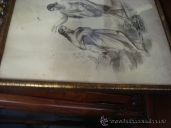 Arte: magnifico grabado del bautismo de jesus, original epoca, , en marco dorado 40 x 31 cm - Foto 5 - 31574805