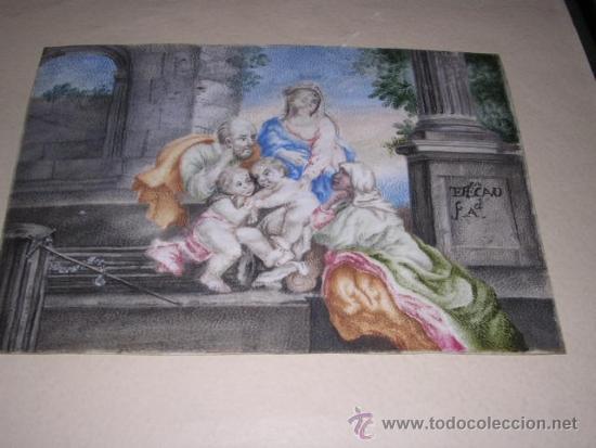 PINTURA RELIGIOSA S. XVII -XVIII PINTADO SOBRE PERGAMINO MARCO S. XIX. PERGAMINO 16,5X11,5 CM. (Arte - Arte Religioso - Pintura Religiosa - Otros)
