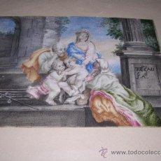 Arte: PINTURA RELIGIOSA S. XVII -XVIII PINTADO SOBRE PERGAMINO MARCO S. XIX. PERGAMINO 16,5X11,5 CM.. Lote 31617130