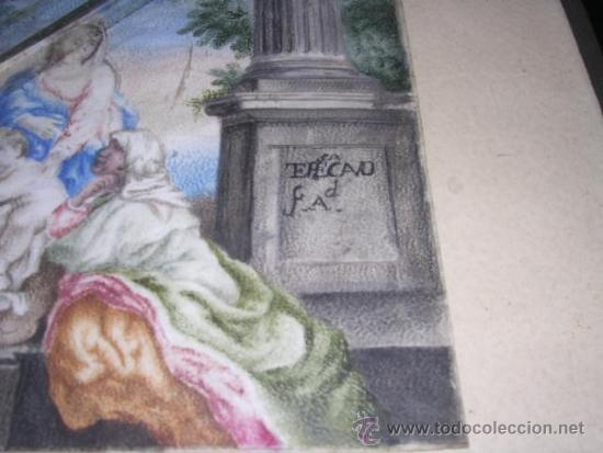 Arte: PINTURA RELIGIOSA S. XVII -XVIII PINTADO SOBRE PERGAMINO MARCO S. XIX. PERGAMINO 16,5X11,5 CM. - Foto 2 - 31617130