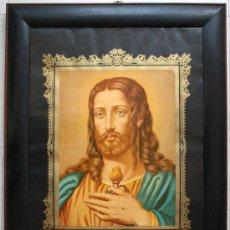Arte: SAGRADO CORAZON JESÚS CROMOLITOGRAFIA FRANCKFURT 81,5 X 60,5 REF. P 5. Lote 31570919
