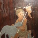 Arte: PRECIOSO Y ANTIGUO SAN JUANITO, MARQUETERIA SOBRE CAOBA, FF.SG.XVIII- PP.SG.XIX. NACAR, BRONCE, . Lote 31950025
