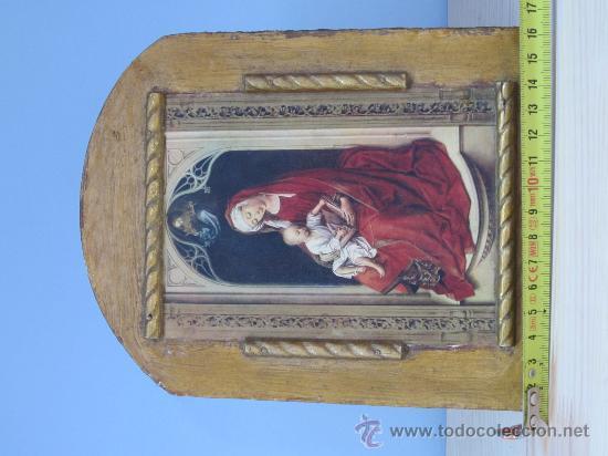 CUADRO VIRGEN CON NIÑO LAMINA PEGADA EN MADERA (Arte - Arte Religioso - Pintura Religiosa - Otros)