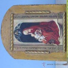 Arte: CUADRO VIRGEN CON NIÑO LAMINA PEGADA EN MADERA. Lote 32127838