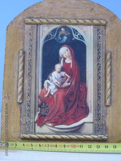 Arte: cuadro virgen con niño lamina pegada en madera - Foto 2 - 32127838