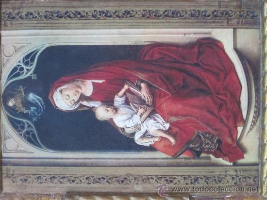 Arte: cuadro virgen con niño lamina pegada en madera - Foto 3 - 32127838