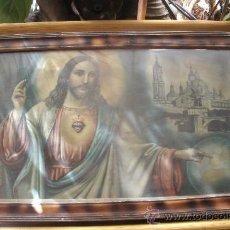 Arte: ANTIGUO Y CURIOSO CUADRO DE JESUCRISTO SEÑALANDO A SANTIAGO DE COMPOSTELA - CON CRISTAL - . Lote 32186997