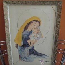 Arte - bonito cuadro con lamina virgen con firma - 32319618