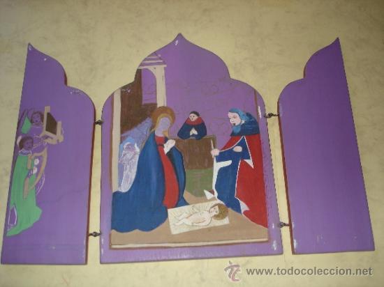 TABLA PINTADA - INACABADA - TRIPTICO - 25,7 X 17,5 CM. (Arte - Arte Religioso - Trípticos)