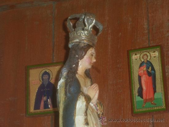Arte: ANTIGUA VIRGEN DE PERU, CON CORONA DE PLATA. SIGLO 18. PERU COLONIAL - Foto 2 - 32451691