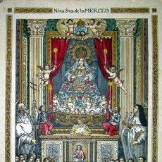 Arte: 1900C BONITO GRABADO ILUMINADO DE NUESTRA SRA DE LA MERCED -CARTEL DE CALATAYUD . Lote 32570793