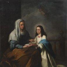 Arte: SANTA ANA CON LA VIRGEN. ATRIBUIDO A ANTONIO MARIA ESQUIVEL. 102 X 83 CM. ENMARCADO. Lote 32614897