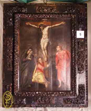 OLEO EN TABLA CALVARIO (Arte - Arte Religioso - Pintura Religiosa - Oleo)