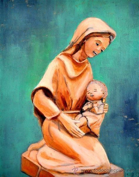 PINTURA AL OLEO VIRGEN (Arte - Arte Religioso - Pintura Religiosa - Oleo)