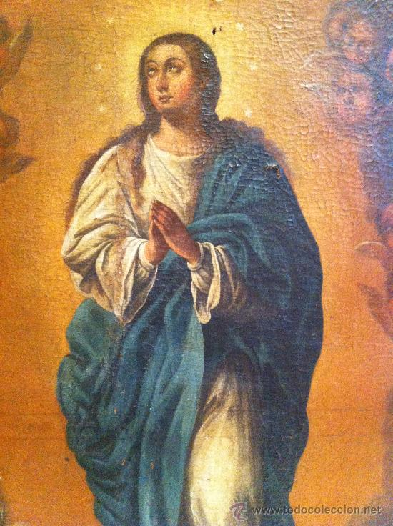 ÓLEO SOBRE LIENZO - VIRGEN INMACULADA SIGLO XVIII (Arte - Arte Religioso - Pintura Religiosa - Oleo)