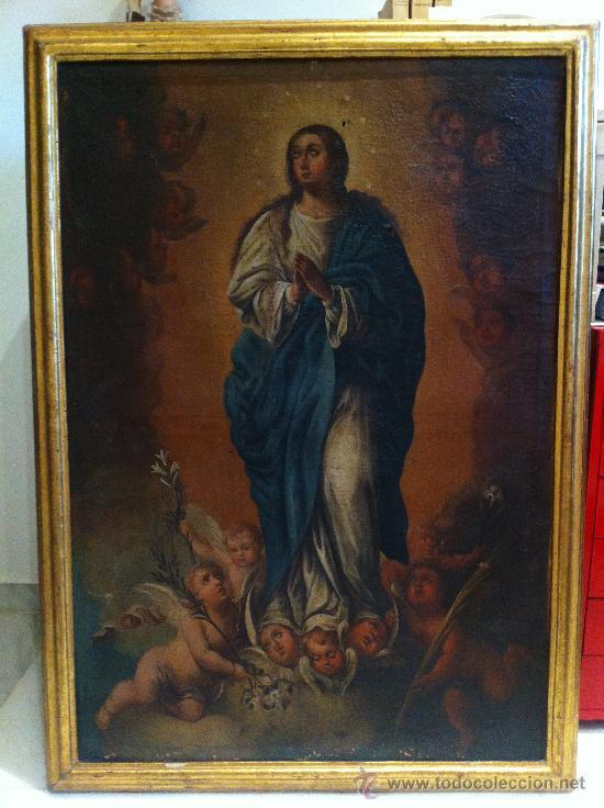 Arte: Óleo sobre lienzo - Virgen Inmaculada Siglo XVIII - Foto 2 - 33081554