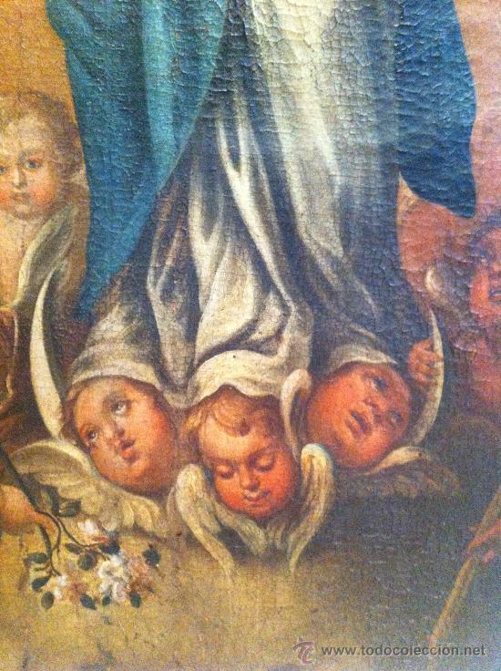 Arte: Óleo sobre lienzo - Virgen Inmaculada Siglo XVIII - Foto 5 - 33081554