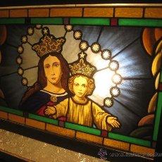 Arte: VIDRIERA VIRGEN MARÍA AUXILIADORA 87 X 59 CM. Lote 35353209