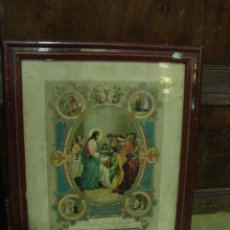 Arte: ANTIGUO CUADRO CON LAMINA RELIGIOSA. Lote 34490361