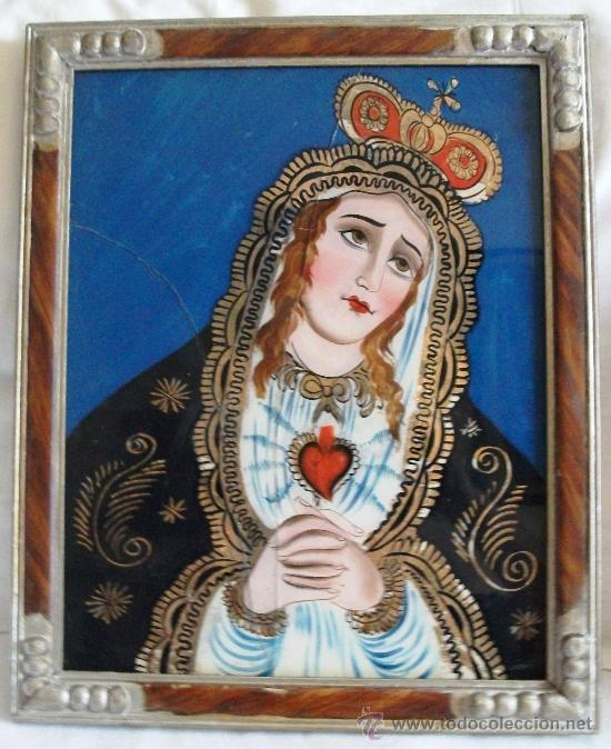 ANTIGUO CUADRO PINTURA SOBRE VIDRIO VIRGEN GRANADA (Arte - Arte Religioso - Pintura Religiosa - Otros)