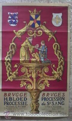 LITOGRAFÍA EN COLORES IMPRESOS POR LA LITHOGRAPHIE ARTISTIQUE, DE BRUJAS. 1940 (Arte - Arte Religioso - Litografías)
