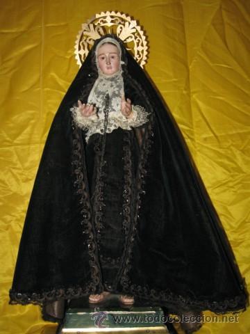 Arte: CONSERVADA Y ANTIGUA VIRGEN DOLOROSA, SG. XIX. CAP I POTA. DE 48 CM. ROPA ORIGINAL - Foto 3 - 33658211