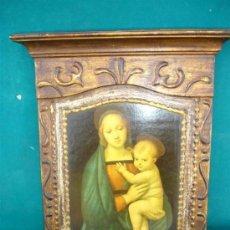 Arte: ANTIGUO MARCO DE MADERA CON LAMINA RELIGIOSA. Lote 33737009