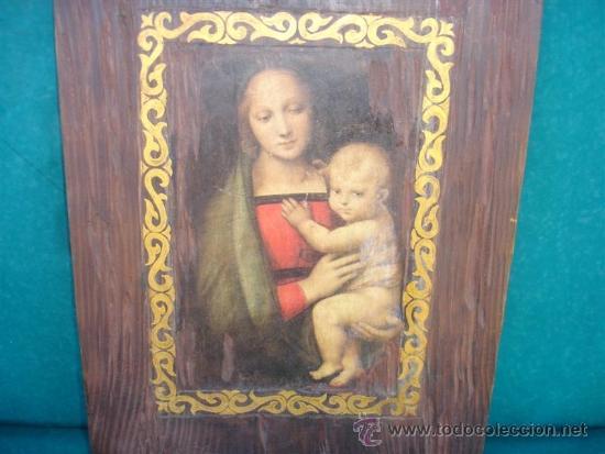 Arte: retablo con una lamina religiosa y dorado - Foto 2 - 33765082
