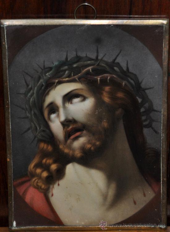 BELLA PLACA DE PORCELANA PINTADA REPRESENTANDO AL ECCE HOMO. SIGLO XIX (Arte - Arte Religioso - Pintura Religiosa - Otros)